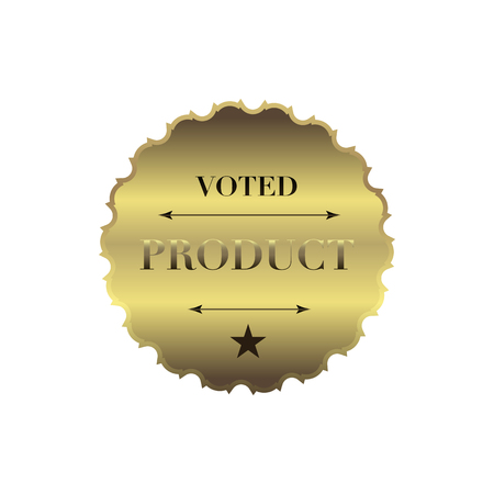 voted: Voted product label in simple style on a white background