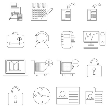 consumer society: Marketing icons in thin line style isolated on white background. Marketing outline set