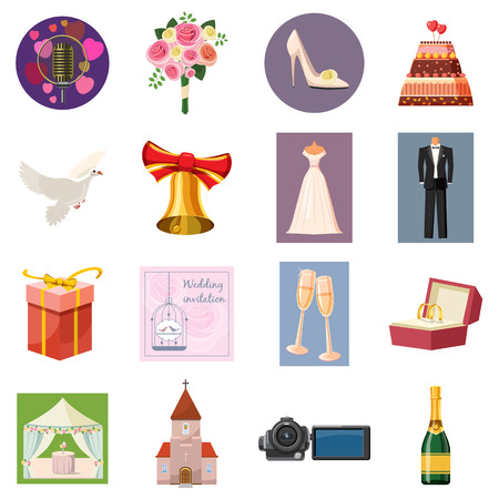Wedding icons set in cartoon style isolated on white background Illustration