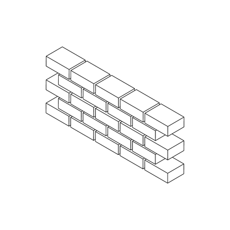 part prison: Part of brick wall icon in isometric 3d style on a white background
