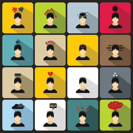 Stress icons in flat style for any design. Stress on work set signs Vettoriali