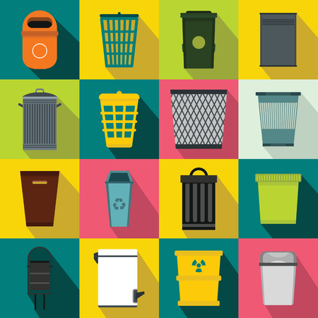trashing: Trash can icons set in flat style for any design