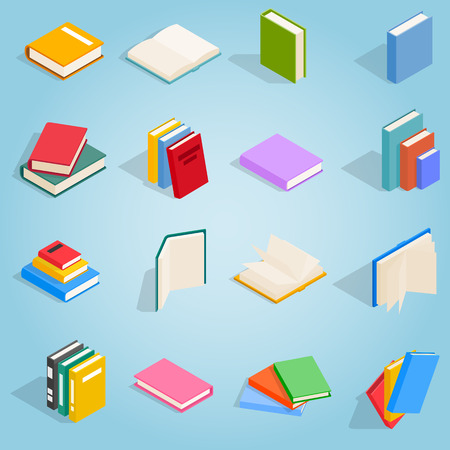 publish: Book icons set in isometric 3d style for any design