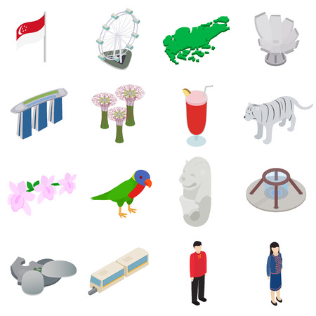Singapore icons set in isometric 3d style isolated on white background Vettoriali