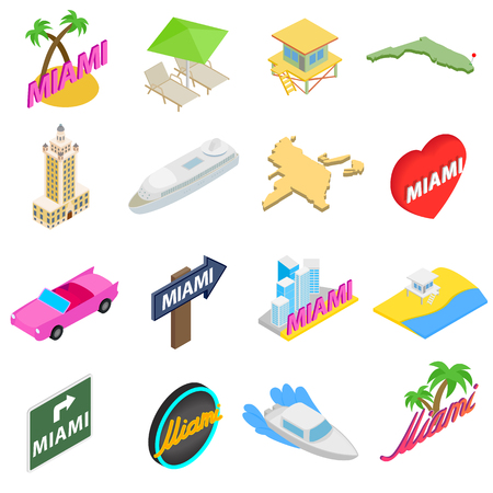 miami south beach: Miami icons set in isometric 3d style isolated on white background Illustration