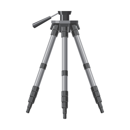 videographer: Tripod icon in cartoon style isolated on white background. Components for photo shooting symbol