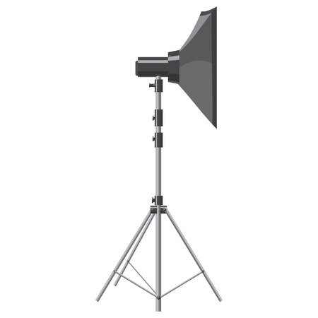 photo shooting: Spotlight for shooting icon in cartoon style isolated on white background. Components for photo shooting symbol Illustration