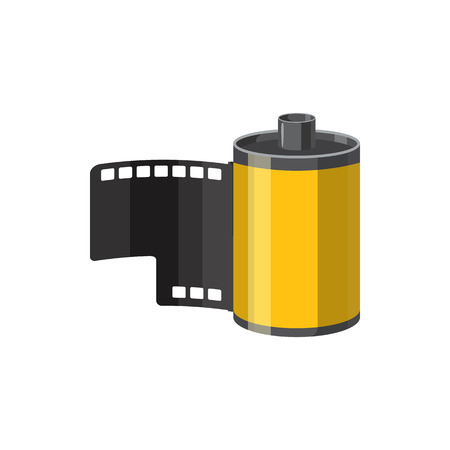 photographic film: Photographic film icon in cartoon style isolated on white background. Components for photo shooting symbol Illustration
