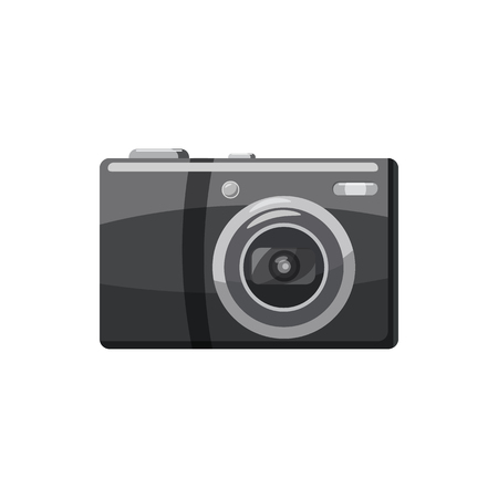 photo shooting: Front view camera icon in cartoon style isolated on white background. Components for  photo shooting symbol