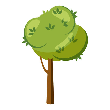 thick growth: Thick tree icon in cartoon style isolated on white background. Nature and flora  symbol