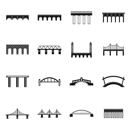 viaduct: Bridge set icons in simple style for any design Illustration