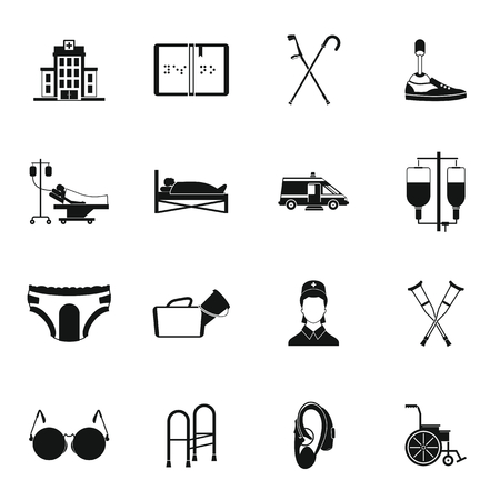 Disabled people care set in simple style for any design