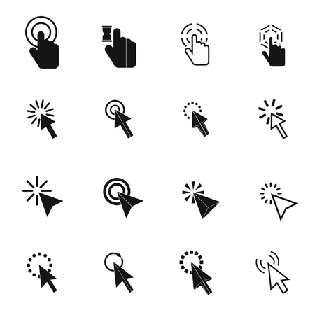 Mouse pointer icons set in simple style for any design Vector Illustration