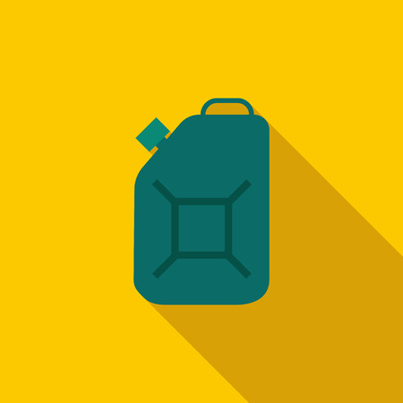 green fuel: Green fuel canister icon in flat style on a yellow background