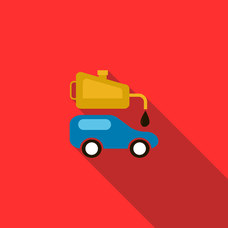 lubricate: Blue car and oiler icon in flat style on a red background