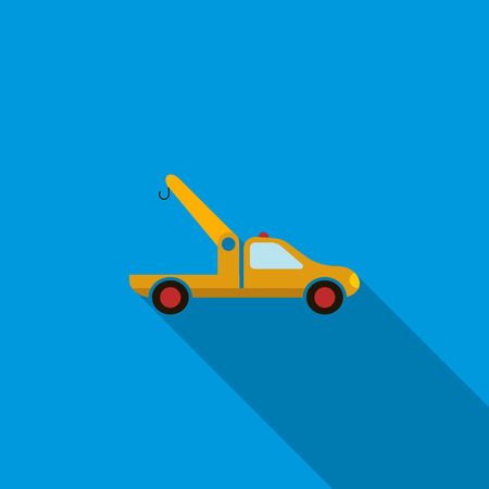 evacuating: Car towing truck icon in flat style on a blue background Illustration