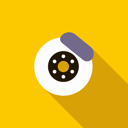 brake: Brake disk icon in flat style on a yellow background Illustration