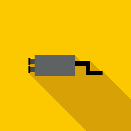 Metal silencer car icon in flat style on a yellow background