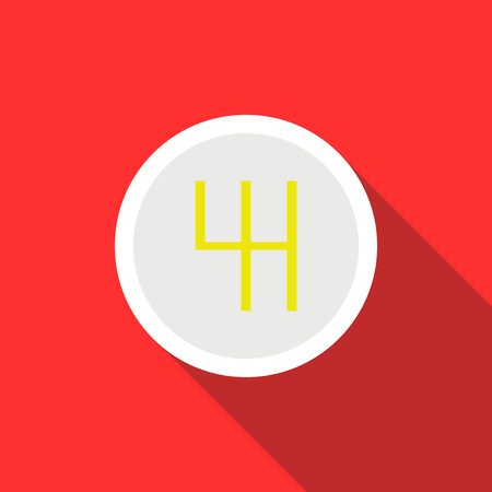 automatic transmission: Gearbox schematics icon in flat style on a red background Illustration