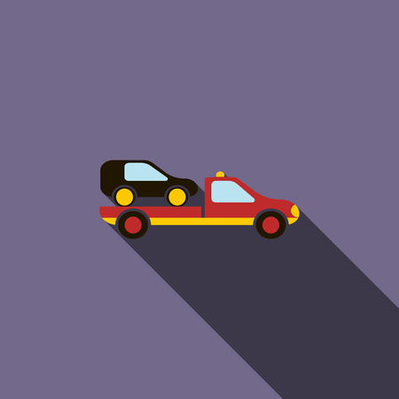 evacuating: Car evacuator icon in flat style on a violet background