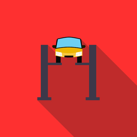 Car lifting icon in flat style on a red background Ilustração