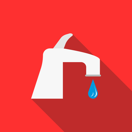 running off: Water tap with drop icon in flat style on a red background