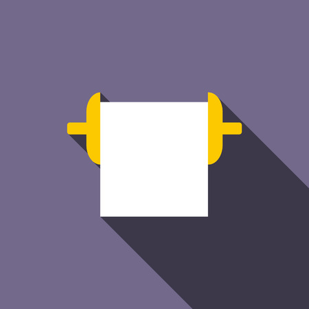 roll paper: Roll paper towel icon in flat style on a violet background
