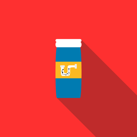 emitter: Chemical agent used to unclog pipes icon in flat style on a red background
