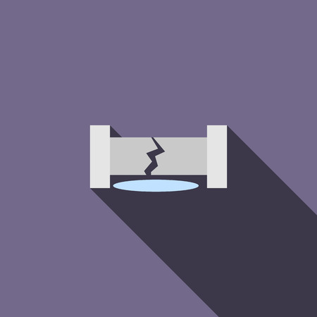 busted: Water pipe broken icon in flat style on a violet background