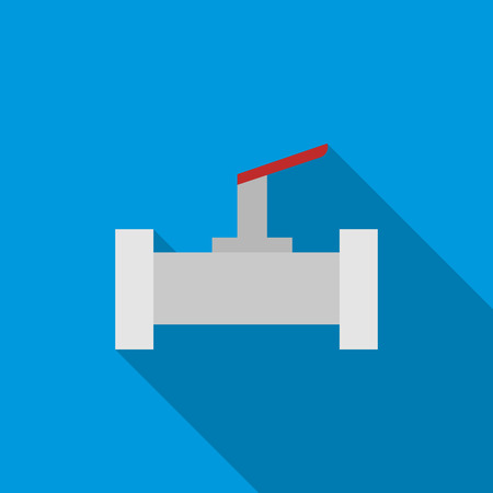 conduit: Stopcock and pipe icon in flat style on a blue background