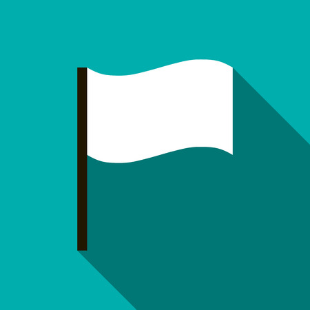 surrendering: White flag icon in flat style on a turquoise background Illustration