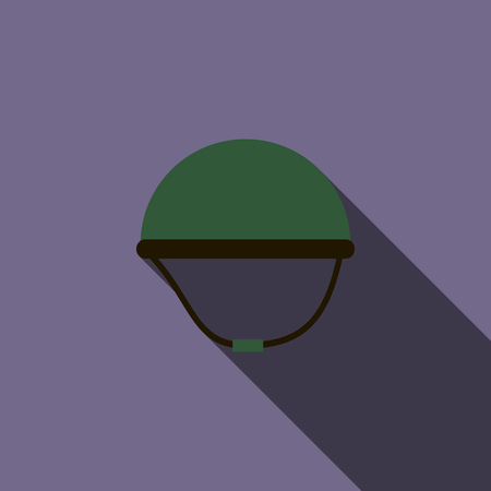 second world war: Military helmet icon in flat style on a violet background