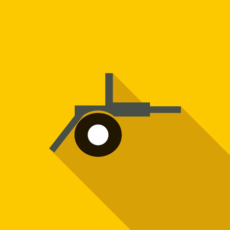 howitzer: Cannon field artillery icon in flat style on a yellow background
