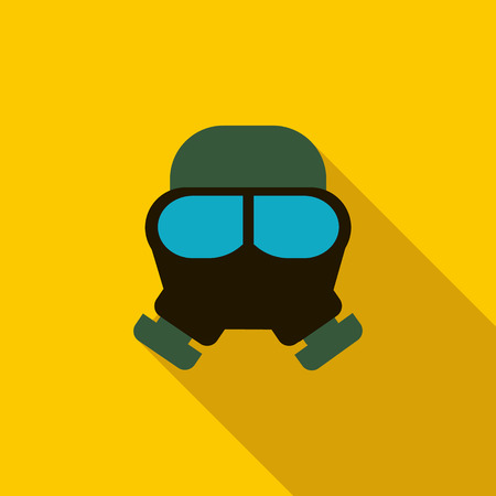 respiratory protection: Gas mask icon in flat style on a yellow background