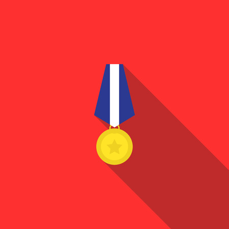 Military medal icon in flat style on a red background