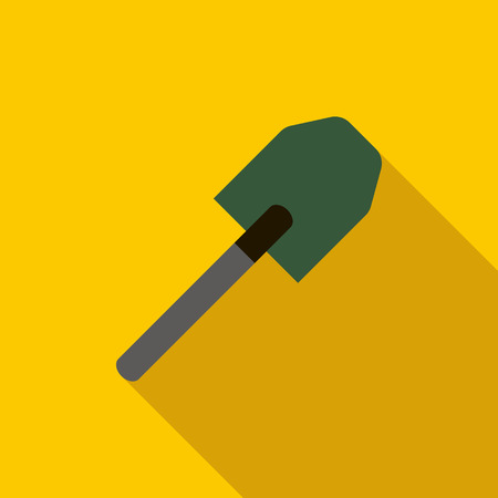 unearth: Multifunction spade icon in flat style on a yellow background