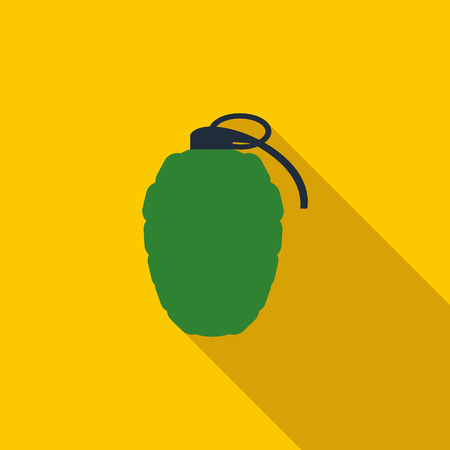 munition: Hand grenade icon in flat style on a yellow background