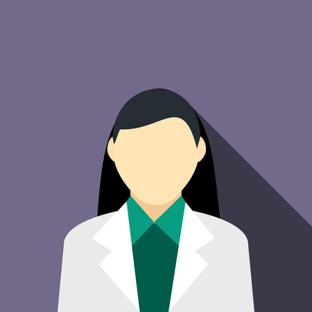 gray suit: Girl brunette in a gray suit icon in flat style on a violet background Illustration