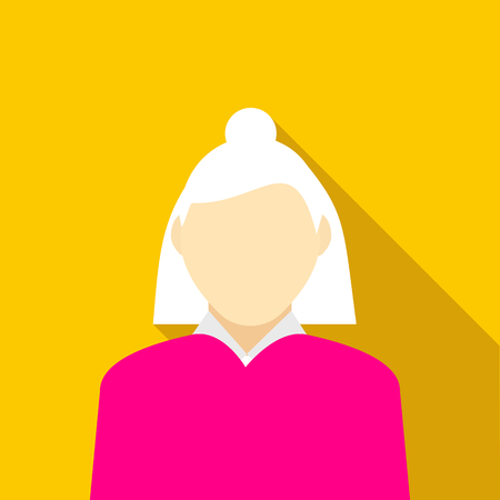 gray hair: Woman with gray hair in pink pullover icon in flat style on a yellow background Illustration