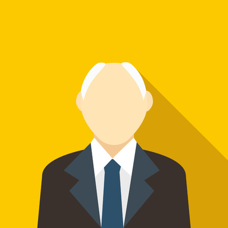 receding hairline: Male with a receding hairline in black suit icon in flat style on a yellow background