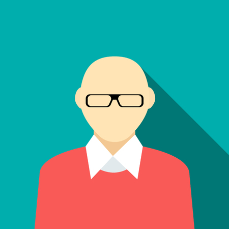 bald man: Bald man in a red sweater icon in flat style on a turquoise background