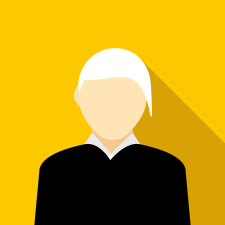 gray hair: Woman with gray hair icon in flat style on a yellow background Illustration