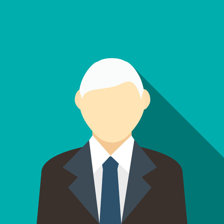 gray hair: Man with gray hair in a black suit icon in flat style on a turquoise background