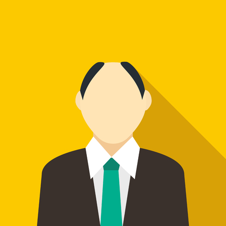 receding hairline: Male with a receding hairline in black suit with green tie icon in flat style on a yellow background