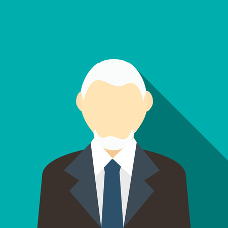 gray hair: Man with gray hair and beard in a suit icon in flat style on a turquoise background