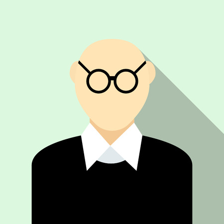 bald man: Bald man with glasses icon in flat style on a light blue background