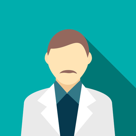 gray suit: Man with a mustache in a gray suit icon in flat style on a turquoise background