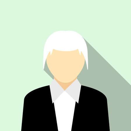 gray hair: Woman with gray hair in a black suit icon in flat style on a light blue background