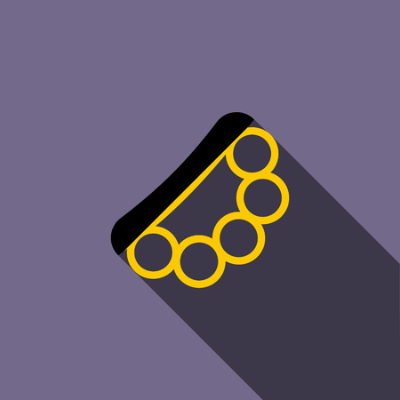 knuckles: Brass knuckles icon in flat style on a violet background
