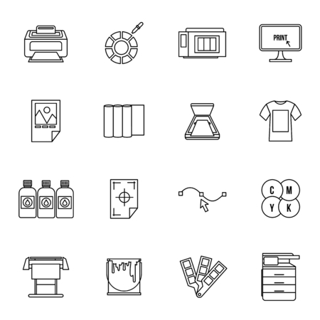 Printing icons set in thin line style for any design